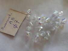 lot 20  perles cristal swarovski AB , 7 mm couleur transparente irisée