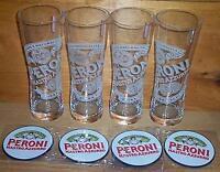 PERONI SIGNATURE TUMBLER 4 BEER PINT GLASSES & COASTERS NEW 41cl
