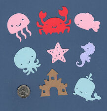 Beach Die Cuts, 16 ea - assorted colors - Ocean Die cuts - Sea Die Cuts - Cute!