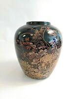 Black Laquer Japanese Ginger Jar Round Vase Gold Design