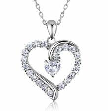 Damen Frauen Halskette Herz Silber 925er Sterling mit Zirkonia Anhänger Schmuck