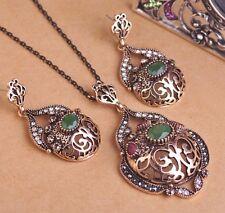TURCO grande-Collana Orecchini Set Oro Antico Gioielli Set verde