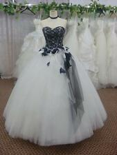 New White and Black Sweetheart Wedding Dress Bridal Gown Custom Size