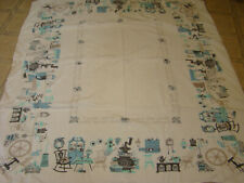 50'S Tablecloth (White W/ Teal Blue Kitchen Utensils)Cool Says-Great Old Cloth