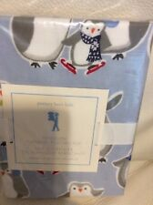 Pottery Barn Kids Penguin Flannel Standard Pillowcase New! Blue Winter