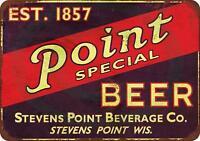 """Point Beer Vintage Rustic Retro Metal Sign 8"""" x 12"""""""
