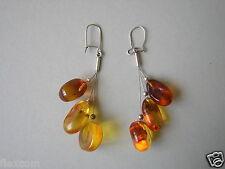 Honig Einschlüsse Natur Tropfen Bernstein Ohrringe Hänger 925 Silber Amber 8,7g