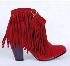 Women's Chic Cowboy Faux Suede High Heels Tassels Fringe Ankle Boots Punk Shoes