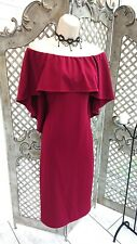 🌹VINTAGE STYLE🌹 BURGUNDY OFF SHOULDER DRAPED CAPE EVENING DRESS SIZE M/L GLAM