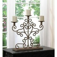 """large 24"""" tall shabby ivory distressed CANDELABRA fireplace pillar Candle holder"""