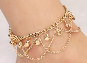 Anklet gold Bead bells Chain Women Ankle Bracelet Barefoot Sandal Beach Foot