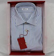 $850 Kiton Napoli NWT Dress Shirt White Blue Striped 100% Cotton Spread Collar
