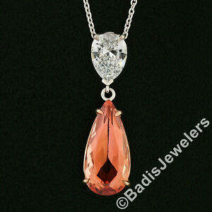New 14k TT Gold GIA Pear Teardrop Orange Imperial Topaz Diamond Pendant Necklace