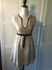 AUTHENTIC Alice + Olivia Metallic Brocade Dress Velvet Trim Strips Polka Dots XS