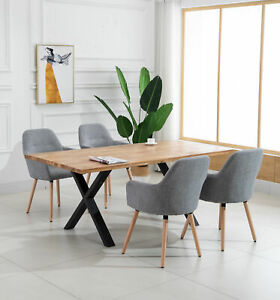 Scandinavian Milano Fabric Chairs with Solid Timber Legs in Grey or Light Grey