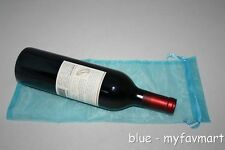 "10 Blue Wine Organza Pouch Gift Bag 6""x14"""