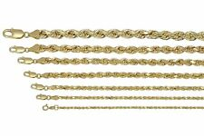 """Real 10K Yellow Gold 2mm-7mm Diamond Cut Rope Chain Pendant Necklace 16""""- 30"""""""