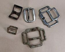 Five Vintage Horse Harness Buckles Two 3x4 Plus Other Three Free S/H