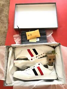 Brand New Thom Browne Mens Classic White Brogued Canvas Sneakers. 42/9 & 41/8