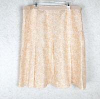 Casual Corner Roses Floral Silk Pleated Peachy Skirt Size 12