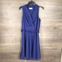 Kasper Women's Size 8 Sleeveless Fit & Flare Dress Lace Blue Belted