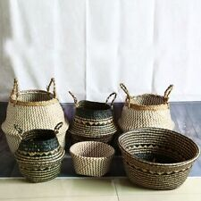 Seagrass Storage Basket Flower Pot Natural Rattan Plant Toys Holder Container