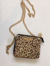 Betsey Johnson Calf Hair Gold Leopard THIRD TIMES THE CHARM Crossbody Purse Bag