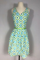 Hanna Andersson Blue and Green Floral Print Sleeveless Fit and Flare Dress 6