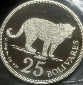 1975 Venezuela 25 Bolivares DCAM Proof .925 Silver Superb Flawless **Rare Coin**
