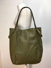NWT COS olive green leather shopper tote bag shoulder grab handles large
