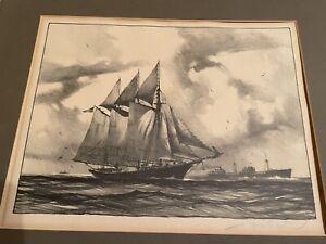 """original lithograph By Gordon Grant """"Sail & Steam"""""""