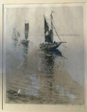 "William A Sherwood Etching ""Pecheurs de Moules"", Signed"