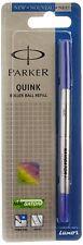 10x Parker Quink Roller Ball Rollerball Pen Refill Refills Blue Ink Fine Nib