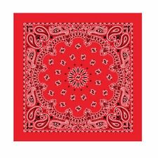 Bandana Scarf Red Black Western Round Paisley Extra Large 27 inch square Cotton