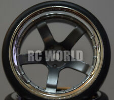 RC Car 1/10 DRIFT WHEELS TIRES Package 9MM Offset GUN METAL W/ CHROME LIP 5 Star