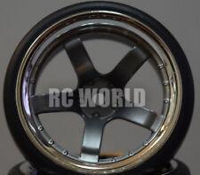 RC Car 1/10 DRIFT WHEELS TIRES Package 9MM Offset GUN METAL W/ CHROME LIP 5 Star