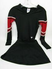 "Girl Teen Black Red Cheerleader Uniform Outfit 32 Top 23"" Skirt No Lettering"