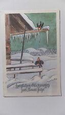 AK  Neujahrskarte verschneite Hütte Vögel gel. 1950