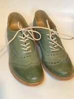 FRYE Maggie Teal Blue Leather Wingtip Oxford Shoe Women's Sz 7B EUC