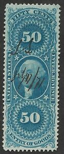 Mr B's US Used 1862 #R55c VF/XF-  George Washington Revenue Stamp - Free Ship