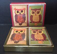 COMPLETE! Set Of 2 VINTAGE Congress PLAYING CARDS Owl Design CEL-U-TONE FINISH