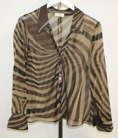 Wallis Womens Petite Brown Sheer Striped Blouse Size 18 ##SE