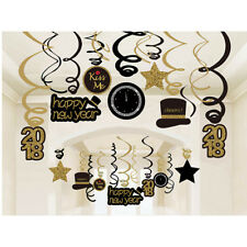 2018 HAPPY NEW YEAR Foil Swirl Decorations Black Silver Gold Party Supplies