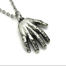 Hand Pendant Necklace, Palm Reader Charm, Palmistry Jewelry in Polished Pewter