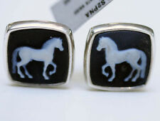 David Yurman Mens New Silver Cushion Horse Cuff Links Banded Agate 22K Gold