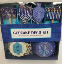 New Happy Chanukah Hanukkah Dreidel Menorah Candles Cupcake Decoration Kit 24