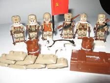 6 russisische Mini Figuren f..Lego, Cobi Army WW2  mit unzähligen Waffen