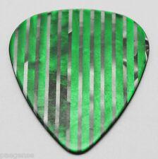 50  New Green with Silver Stripes Guitar Picks Medium Thickness No Logo