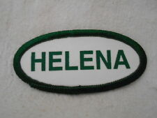 HELENA  USED SILK SCREEN NAME PATCH TAG  GREEN ON WHITE