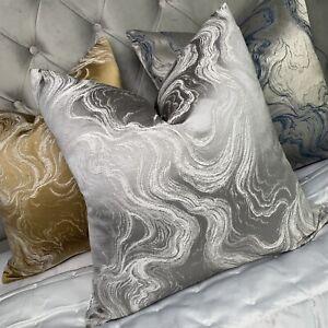 "Luxury Cushion Cover 16"" Designer Fabric & Marble Effect Silver Grey Decor"